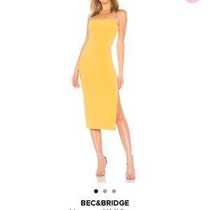Bec & Bridge yellow midi dress